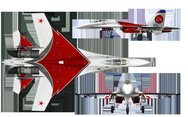 Самолёт Су 27 в разных ракурсах