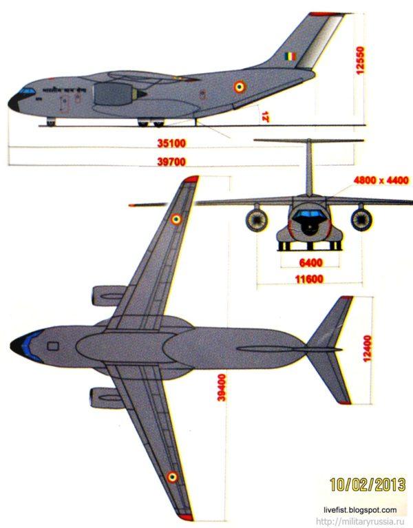 Проекция самолёта Ил-214