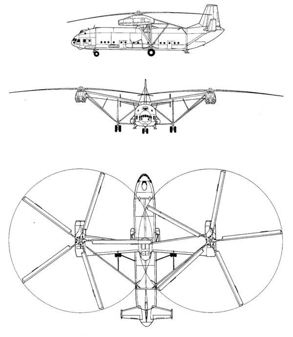 Схема вертолёта В-12 (Ми-12)
